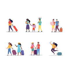 set scenes with tourists vector image