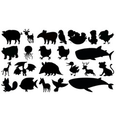 Set silhouette animal vector