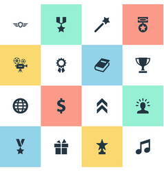 Set simple trophy icons vector