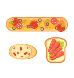 Set toasts and sandwich breakfast bread toast vector