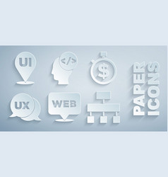 Set web and graphic design time is money ui vector
