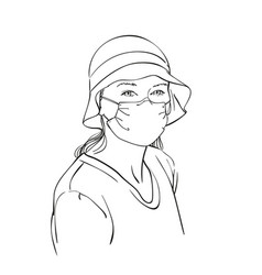 sketch woman portrait in medical face mask and vector image
