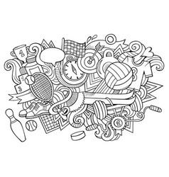 sport hand drawn cartoon doodles funny design vector image