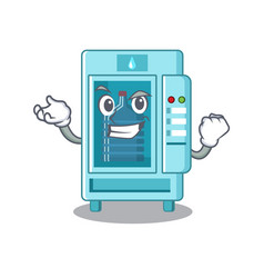 Successful water vending machine in a character vector