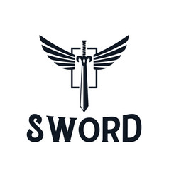 sword and wings logo design inspiration vector image