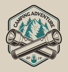 t-shirt design with a mountain flashlight in vector image