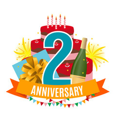 template 2 years anniversary congratulations vector image