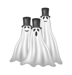 Three ghosts with black hats vector