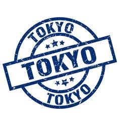 Tokyo blue round grunge stamp vector