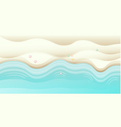 Top view summer beach background with golden sand vector