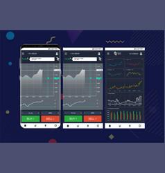 Trade exchange app on phone screens vector