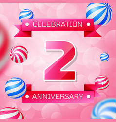 two years anniversary celebration design banner vector image