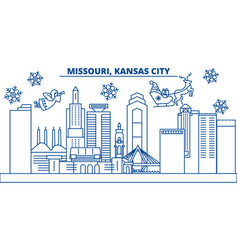 Usa missouri kansas city winter city skyline vector