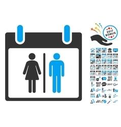 Water closet calendar day flat icon vector
