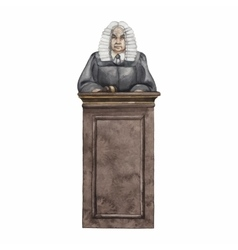 Watercolor judge in a wig vector