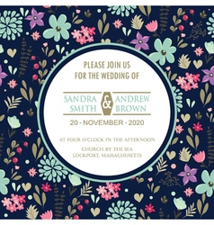Wedding invitation with dark floral background vector