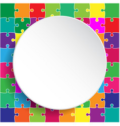 White circle banner colorful background puzzle vector