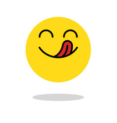 yummy icon hungry smiling face with mouth and vector image