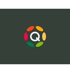 Color letter Q logo icon design Hub frame vector image