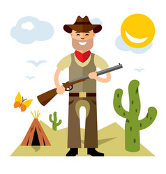 cowboy with rifle flat style colorful vector image vector image
