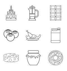 delicious jam icons set outline style vector image vector image