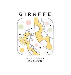 giraffe logo template original design cute animal vector image