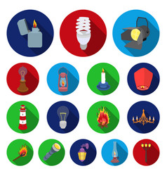 light source flat icons in set collection for vector image vector image