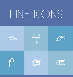 set of 6 editable business outline icons includes vector image vector image