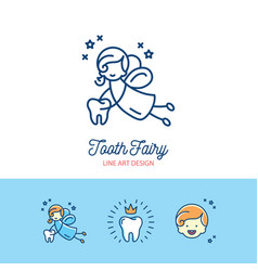 tooth fairy logo childrens dentistry thin line art vector image