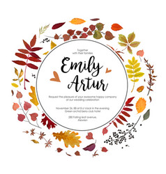 Autumn fall wedding invite card with leaves vector
