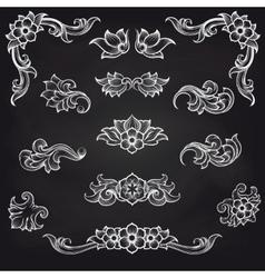 Baroque engraving leaf scroll design vector image