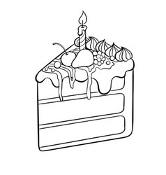 cake with candle coloring book vector image vector image