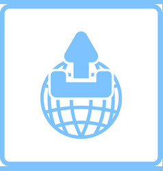 Globe with upload symbol icon vector