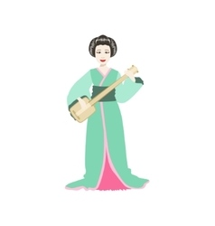 Japanese geisha playing samisen vector