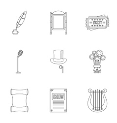 Performance icons set outline style vector image vector image