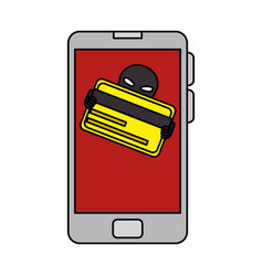 Smartphone with hacker avatar character vector