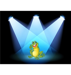 A frog on the stage with spotlights vector image