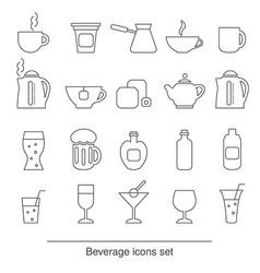 beverage icons set beverage icons set vector image