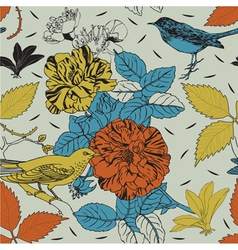 Birds and flowers Seamless background vector image vector image