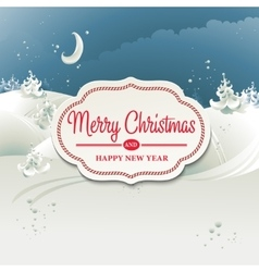 Christmas card with winter landscape vector image vector image