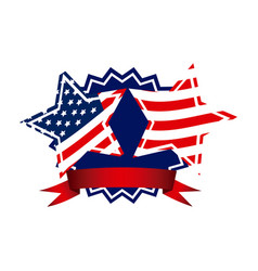 emblem and stars independence day icon vector image vector image