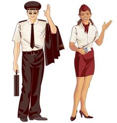 flight attendant and pilot vector image