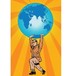International business boss keeps planet earth vector
