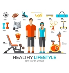 Sport life stile infographic with gym device vector image