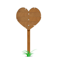 wooden heart sign vector image vector image