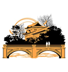 Chinese bridge vector image vector image