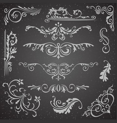 dark flourish border corner and frame elements vector image