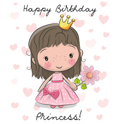 happy birthday card with little princess vector image