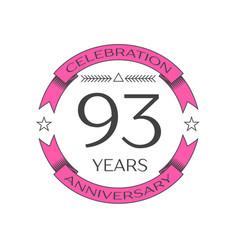 Ninety three years anniversary celebration logo vector