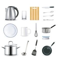 Realistic Kitchen Utensils vector image vector image
